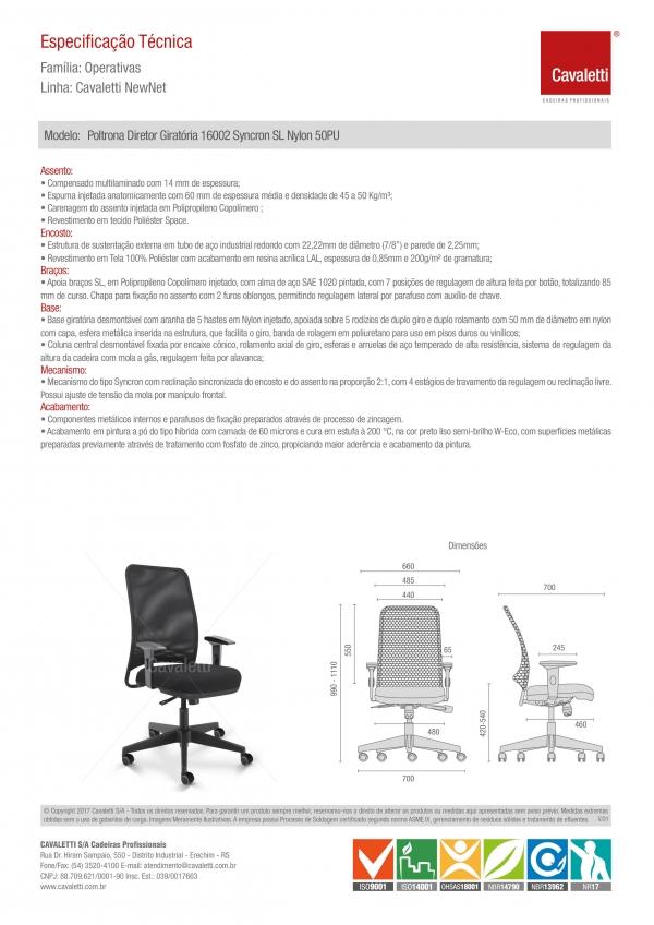 Cadeira para escritório giratória diretor 16002 - Syncron - Linha NewNet - Braço SL - Cavaletti - Base Nylon -