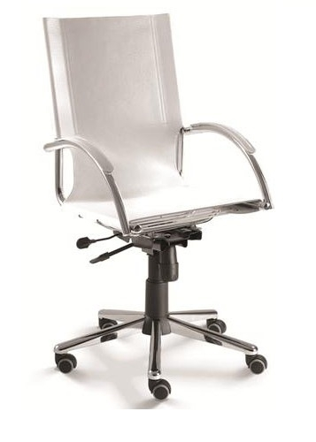 Cadeira para escritório giratória presidente 14001 BG Relax - Couro Natural - Linha Chroma - Cavaletti - Base Aranha Estampada