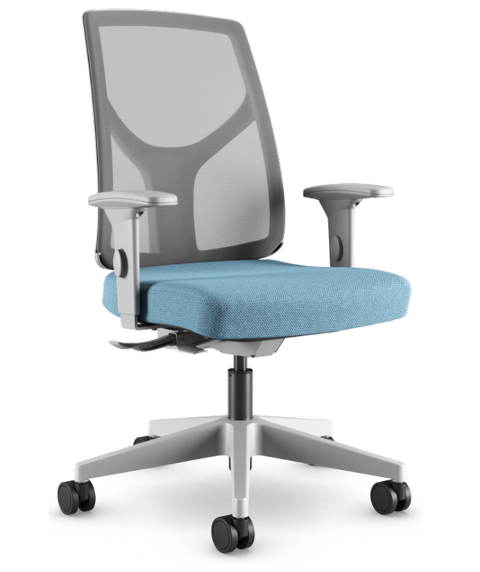 Cadeira Giratória Executiva YON,  47101 SRY, Encosto em  TELA NEWNET c/ Regulagem de Altura, Aranha NYLON CINZA, Rod. 65 Nylon, Braço SL Cinza