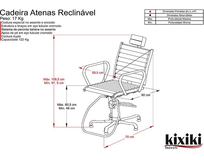 Cadeira Atenas - Encosto Reclinável - Com Cabeçote- Kixiki Móveis -