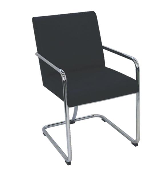 Cadeira Fixa Assento Quadrado C-50 -  Estrutura Cromada Braços Fixos