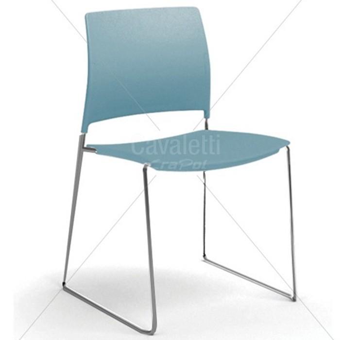 Cadeira para escritório fixa aproximação 34006 A  - Estrutura Prata - Linha Go - Cavaletti