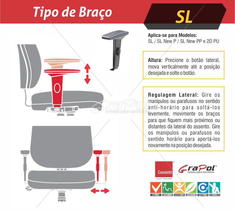 Cadeira para escritório giratória presidente 18001 Relax - Linha Slim - Braço SL - Cavaletti - Base Polaina -