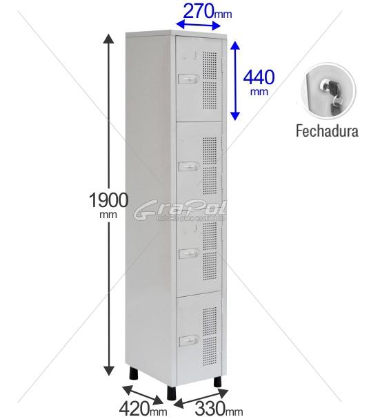 Roupeiro Para Vestiário RGRSP 2/4 4 Portas - Com FECHADURA - RCH
