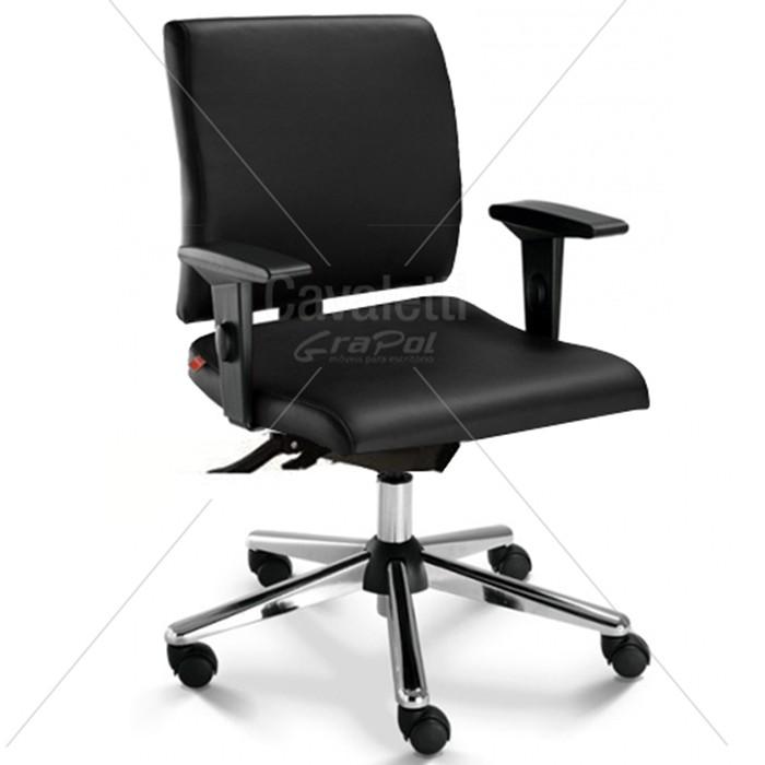 Cadeira para escritório executiva giratória 18004 SRE - Linha Slim - Braço SL - Cavaletti - Base Estampada Cromada