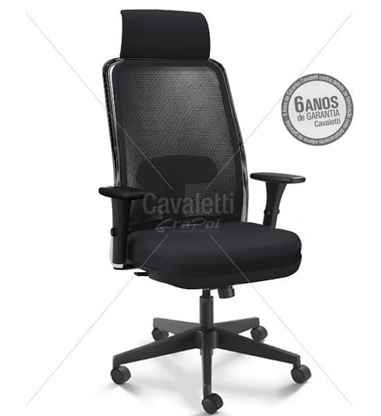 Cadeira para escritório giratória presidente 16001 AC - Syncron - (LR) - Linha NewNet - BRAÇO 3D - Cavaletti - Base Nylon