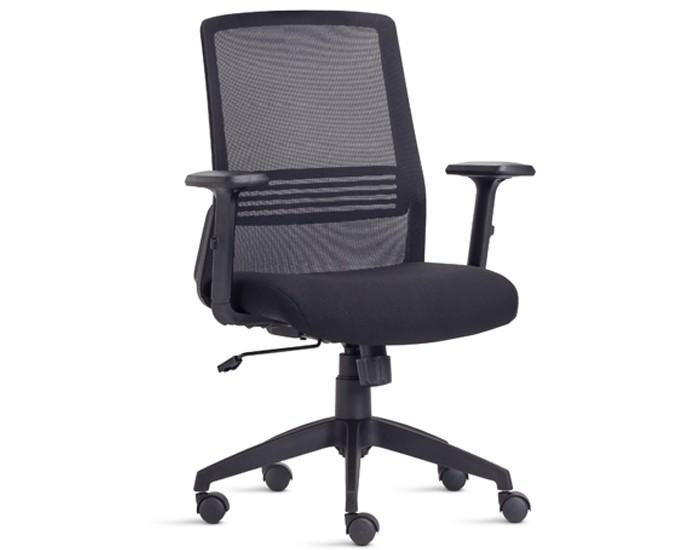 Cadeira Para Escritório Presidente Giratória IJOY03 - Mecanismo Syncron - Encosto em Tela - Base Nylon - Com Apoio Lombar - Com Braço PP - Linha Joy - Frisokar