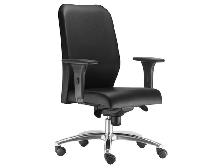 Cadeira Para Escritório Presidente Giratória POP051 - Mecanismo Syncron - Base Semi Arcada em Alumínio - Linha Pointer Premium - Com Braço PU - Frisokar