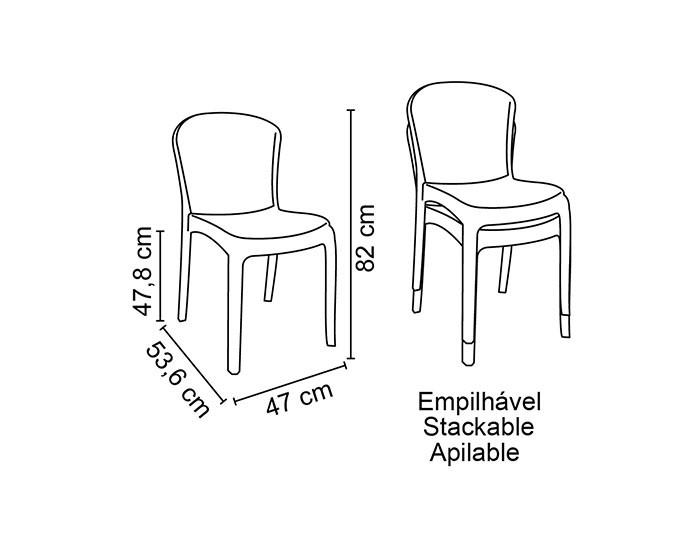 Cadeira Tramontina Anna Transparente sem Braços em Policarbonato -