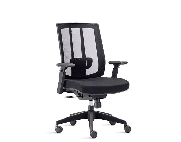 Cadeira Para Escritório Presidente Giratória ISON01 - Mecanismo Sincronizado - Base Nylon - Apoio Lombar - Linha Song - Com Braço - Frisokar