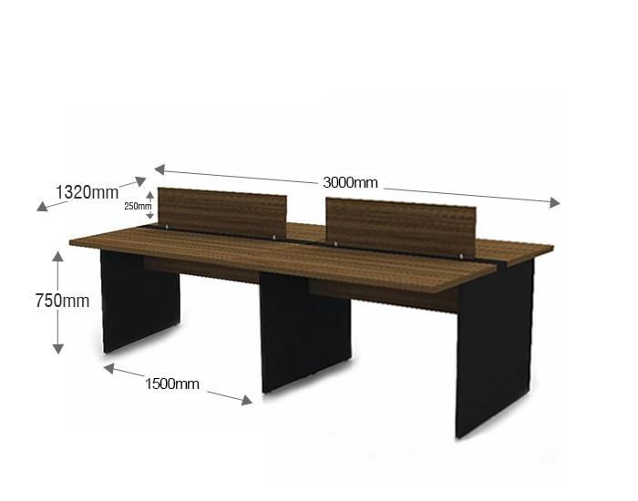 Plataforma de Trabalho com Total de 4 Lugares. 2 Lugar + 2 Lugar Frente a Frente 3000mm X 1320mm X 750mm - 25mm