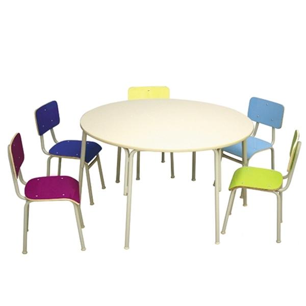 Conjunto de mesa redonda infantil colorido (1 à 5 anos) - 06 Lugares - Dellus