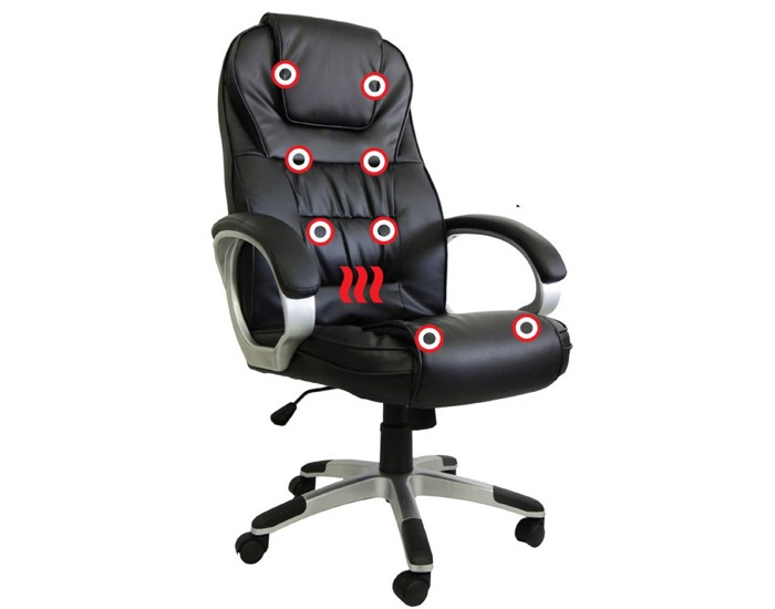 Cadeira Presidente - Massageadora - Sistema de Aquecimento Lombar -  Base Cromada - Pelegrin