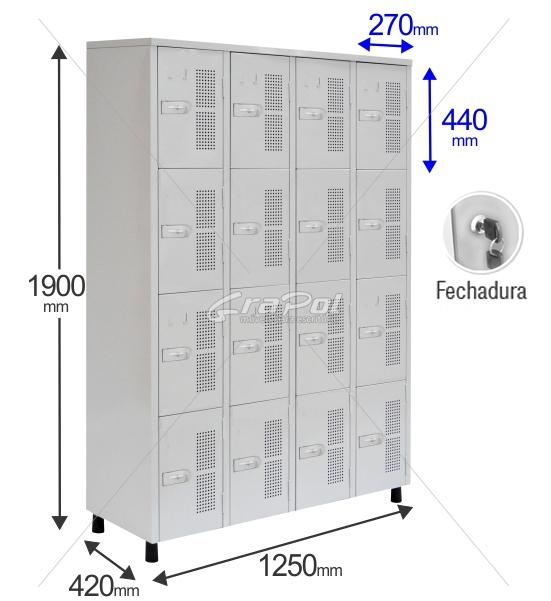 Roupeiro Para Vestiário RGRSP 16 Portas - Com FECHADURA - RCH