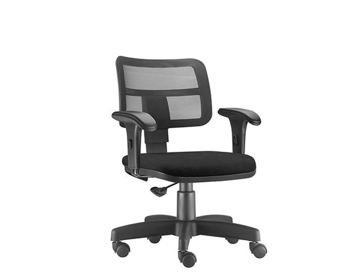 Cadeira Para Escritório Diretor Giratória ZIP414 - Mecanismo Base a Gás- Encosto em Tela - Base Metálica com Capa - Linha ZIP - Com Braço PP - Frisokar