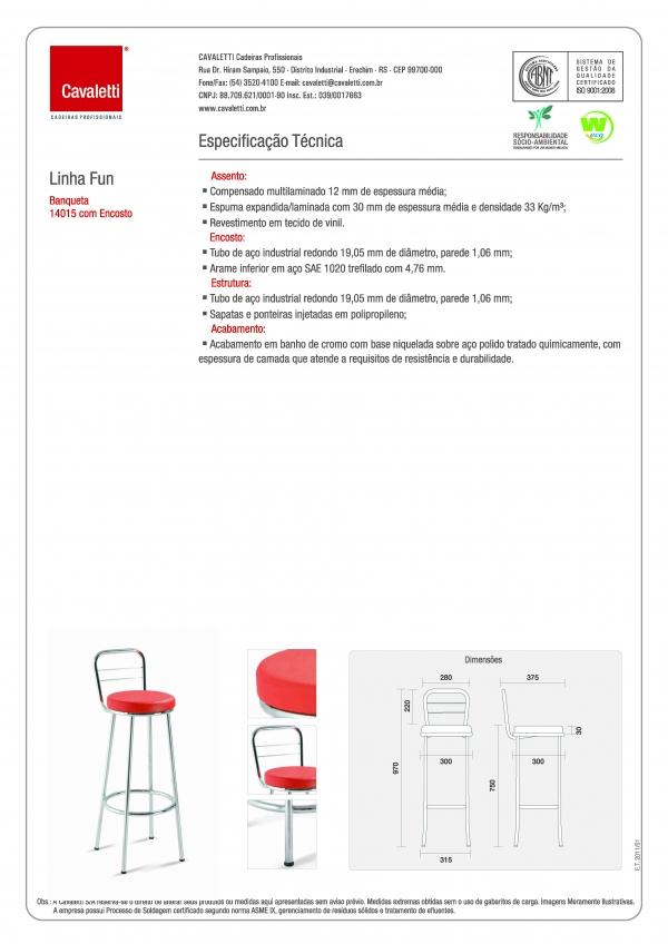 Banqueta / Banco -  com encosto 14015 - 700mm Altura - Alto - Linha Fun - Cavaletti -