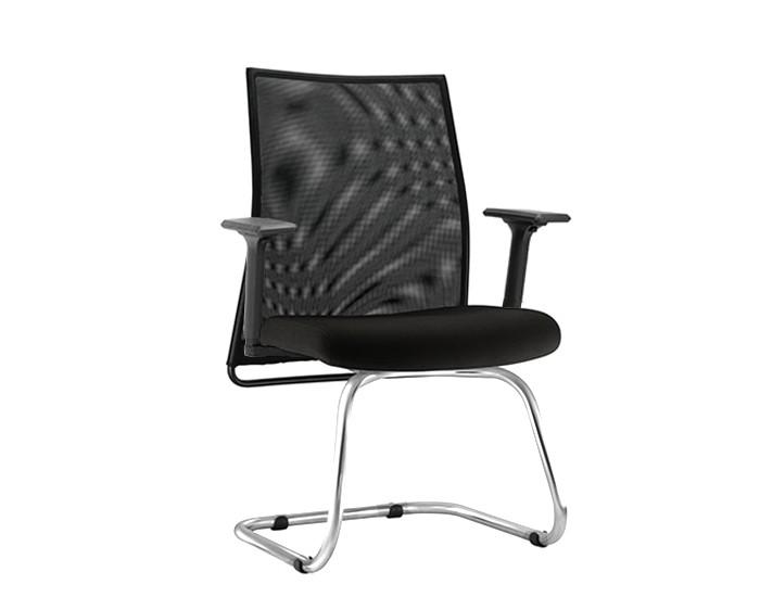 Cadeira Fixa LISFX108 - Base SKL Cromada - Encosto em Tela - Linha LISS - Com Braço - Frisokar