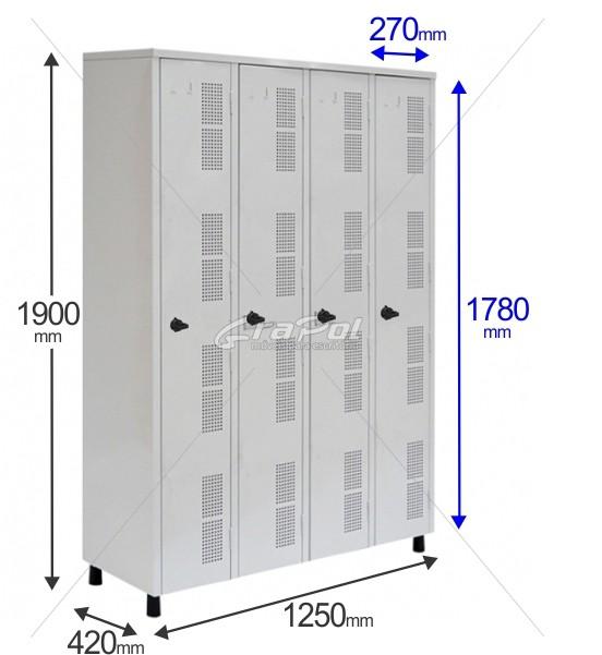 Roupeiro Para Vestiário RGRIP-4 4 Portas - Com Fecho Porta-Cadeado - RCH
