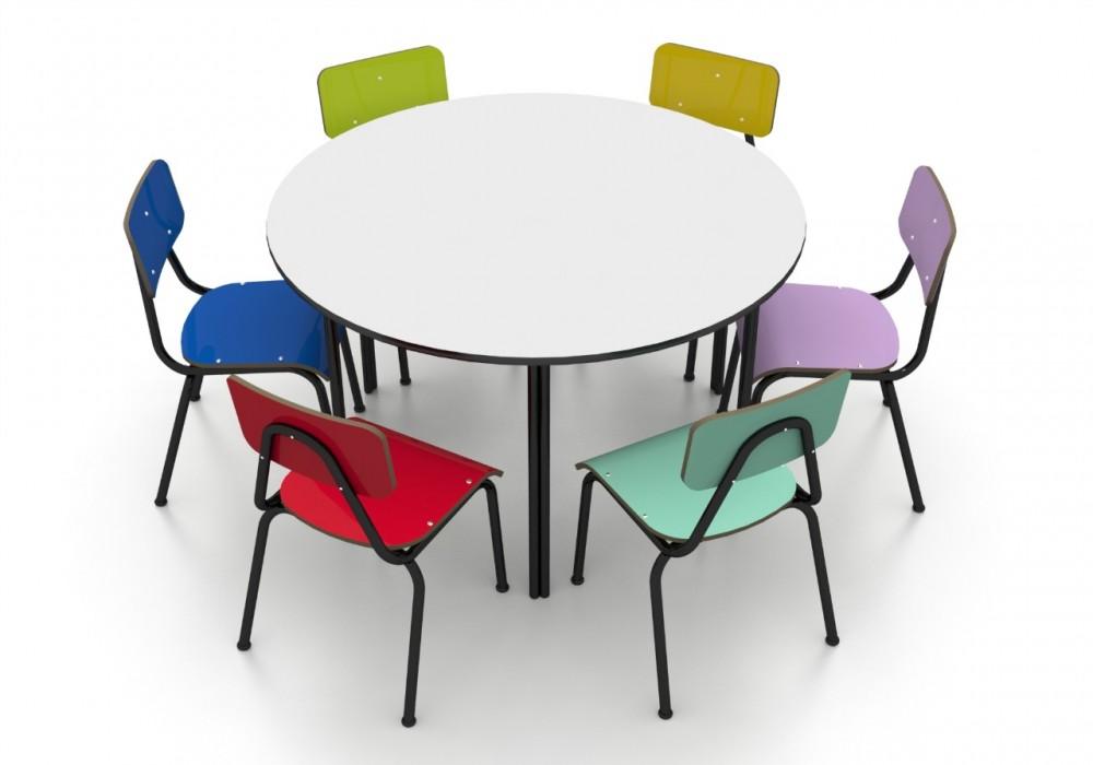 Conjunto de mesa redonda juvenil (6 à 10 anos) - 1 mesa + 6 cadeiras - 06 lugares - Branco ou Bege - Dellus -