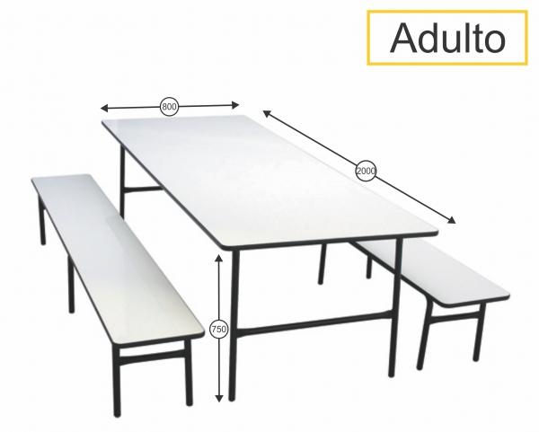 Mesa para Refeitório com bancos adulto - 2000 x 800 x 750 mm - Dellus -