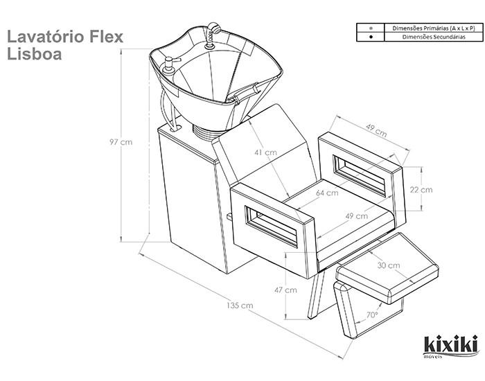 Lavatório Flex Lisboa - Com Pia de Cerâmica - Sem Aquecedor - Com Descanso de Pernas - Kixiki Móveis -