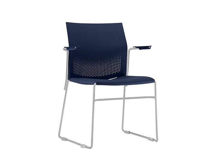 Cadeira Fixa CON006 - Base Fixa Cinza - Linha Connect Coletiva - Com Braço - Frisokar