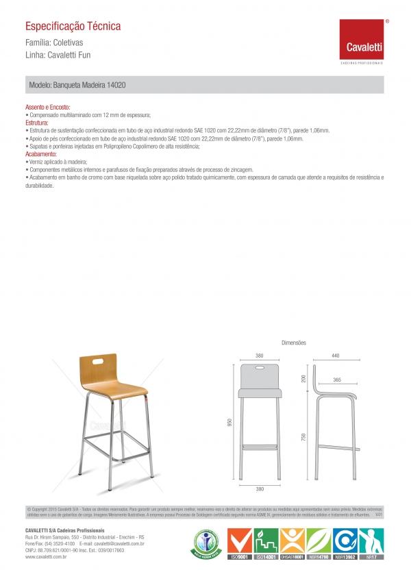 Banqueta / Banco -  com encosto 14020 envernizada - Estrutura cromada - Cavaletti -