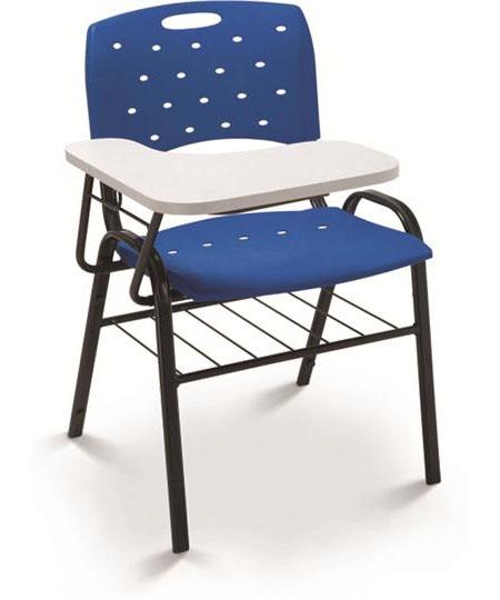Cadeira Universitária Plástica 35008 PU c/ Gradil e Prancheta em MDF - Linha Viva - Cavaletti