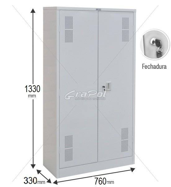 Armário de Aço - RAA408SF  - 2 portas - 1330  x 760 x 330mm - Com 02 prateleiras móveis e 01 fixa
