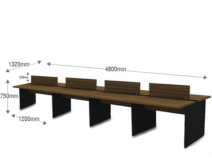 Plataforma de Trabalho com Total de 8 Lugares. 4 Lugares + 4 Lugares Frente a Frente - 4800mm X 1320mm X 750mm - 25mm