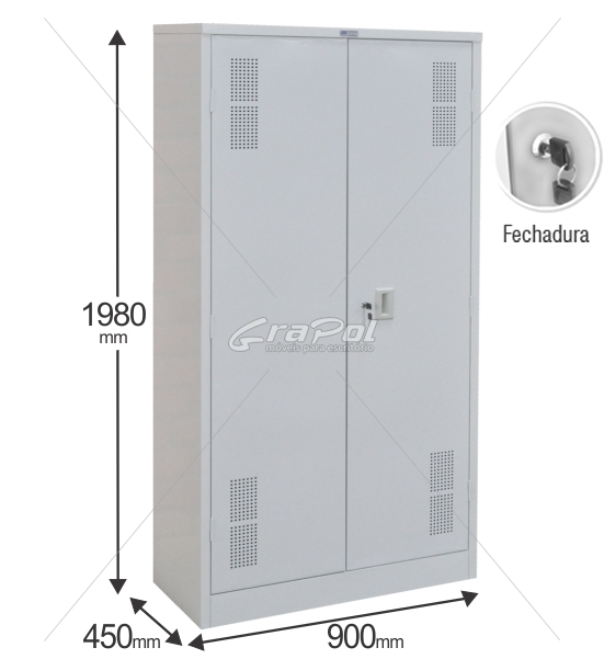 Armário de Aço RAA402/45 - 2 Portas - 1980x900x450mm RCH - 04 Prateleiras Reguláveis
