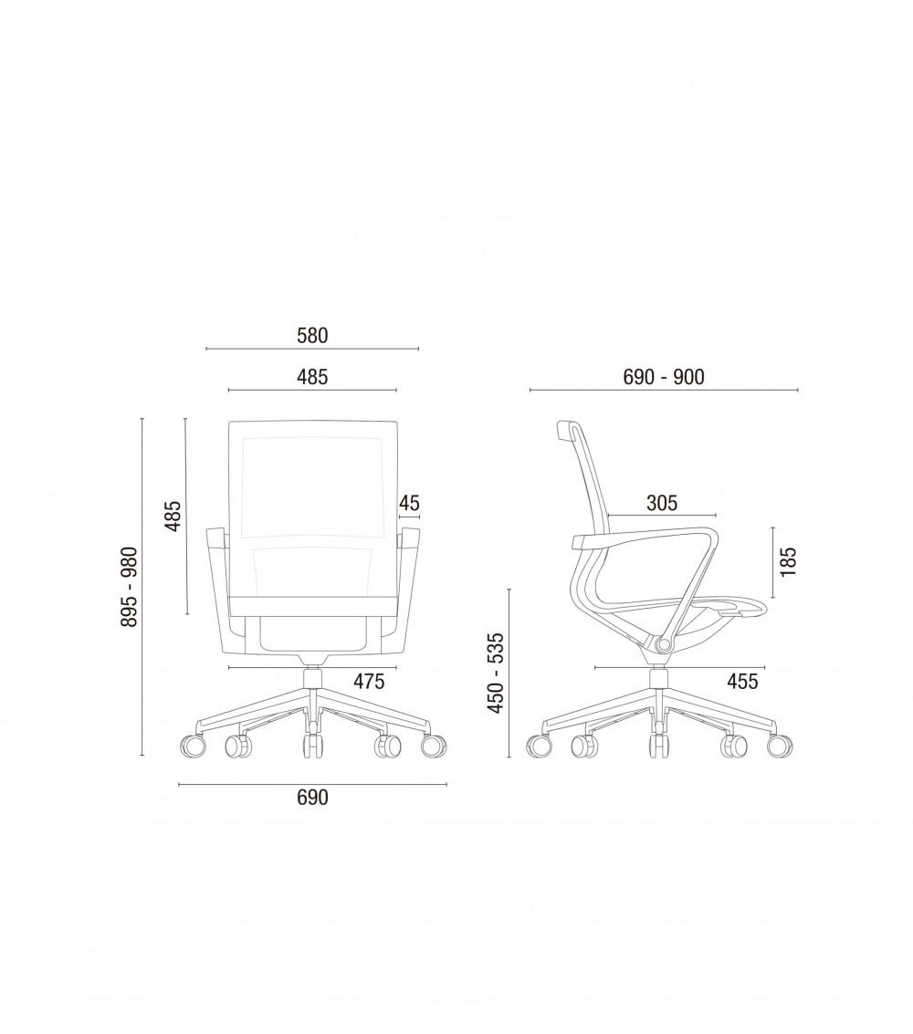 Cadeira para escritório giratória 44102 Auto Regulável - Linha Aura - Braço - Estrutura Preta - Cavaletti - Base Alumínio -