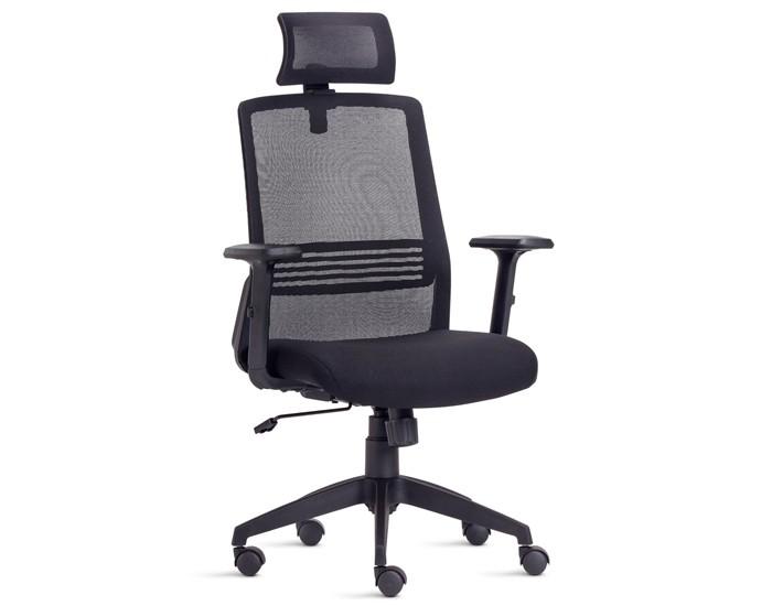 Cadeira Para Escritório Presidente Giratória IJOY07 - Mecanismo Syncron - Encosto em Tela - Base Nylon - Com Apoio Lombar - Com Apoio de Cabeça - Linha Joy - Frisokar
