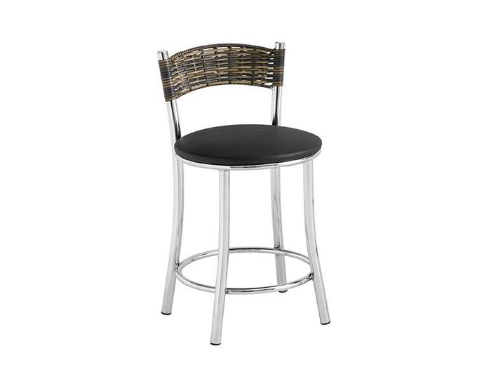 Banqueta Bar 045 - Com Encosto em Junco - 45cm - Assento Estofado