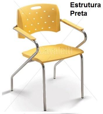 Cadeira para escritório fixa 35007 Z - Estrutura Preta - Linha Viva - Cavaletti