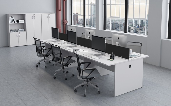 Plataforma de Trabalho com Total de 4 Lugares. 2 Lugar + 2 Lugar Frente a Frente - 2000mm X 1320mm X 750mm - Tampo em MDP 40mm -