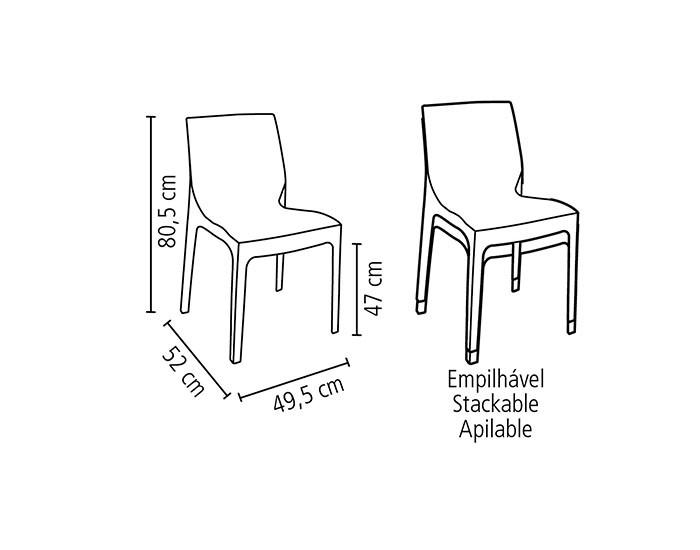 Cadeira Tramontina Alice Satinada sem Braços em Polipropileno -