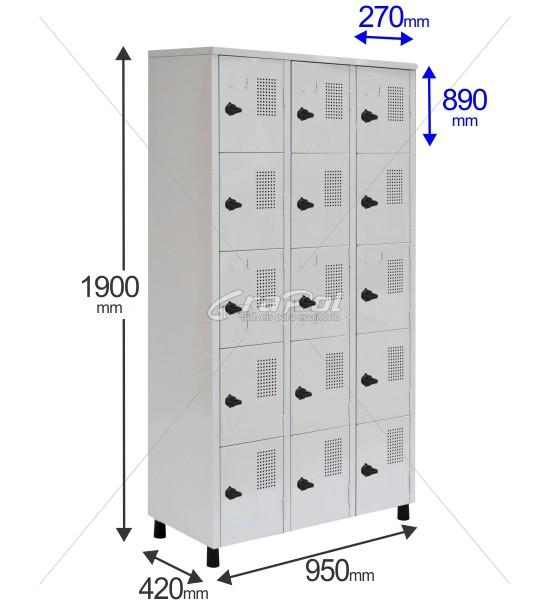Roupeiro Para Vestiário RGRSP-6/15 15 Portas - Com Fecho Porta-Cadeado - RCH