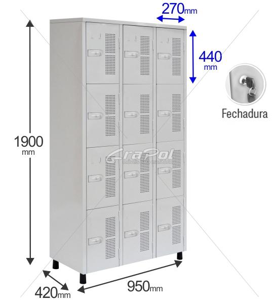 Roupeiro Para Vestiário RGRSP 12 Portas - Com FECHADURA - RCH