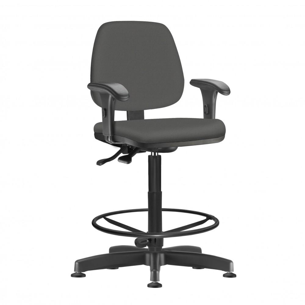 Cadeira Caixa Giratória kJOB0050 - Mecanismo Evolution - Base Caixa com Aro - Linha Job - Com Braço PP  - Frisokar