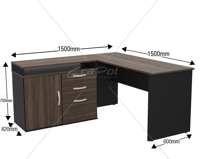 Mesa em L - Tampo 25mm - Mesa Auxiliar Ajustável - 1 porta - 3 gavetas - Mesa Principal com Largura de 1500mm - Mesa Auxiliar com 03 Opções de Montagem -