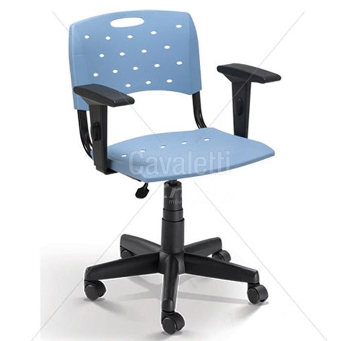 Cadeira para escritório giratória secretária plástica 35004 BG - Linha Viva - Braço SL - Cavaletti - Base Polaina