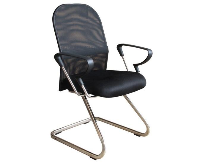Cadeira Fixa - Encosto em Tela - Com Apoio Lombar - Base Cromada - Com Braço - Pelegrin