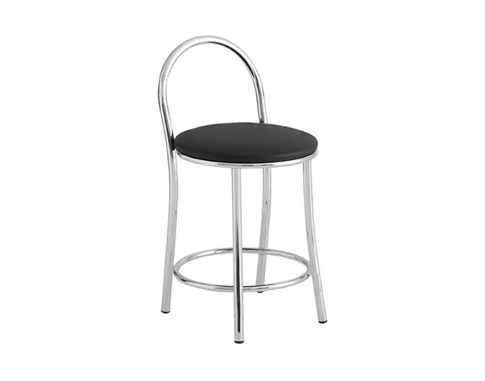 Banqueta Bar 067 - Com Encosto Arco Tubular - 45cm- Assento Estofado