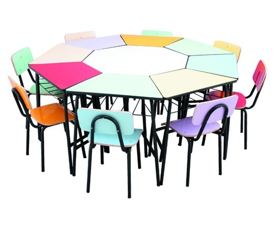 Conjunto de mesas e cadeiras OITAVADO JUVENIL (6 à 10 anos) colorido - Dellus