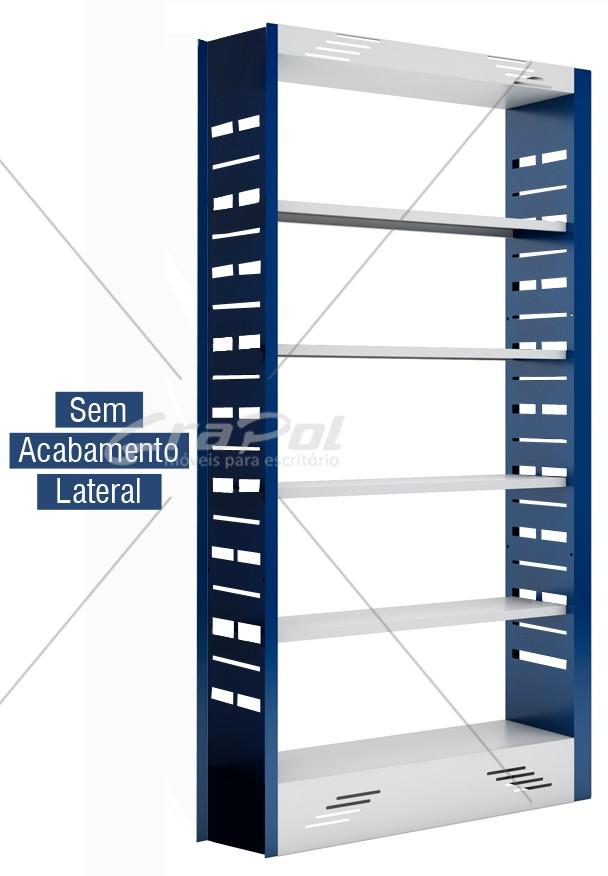 Estante Simples face para Biblioteca - W-teca - c/ 4 Prateleira + Base 2000X1000X315mm