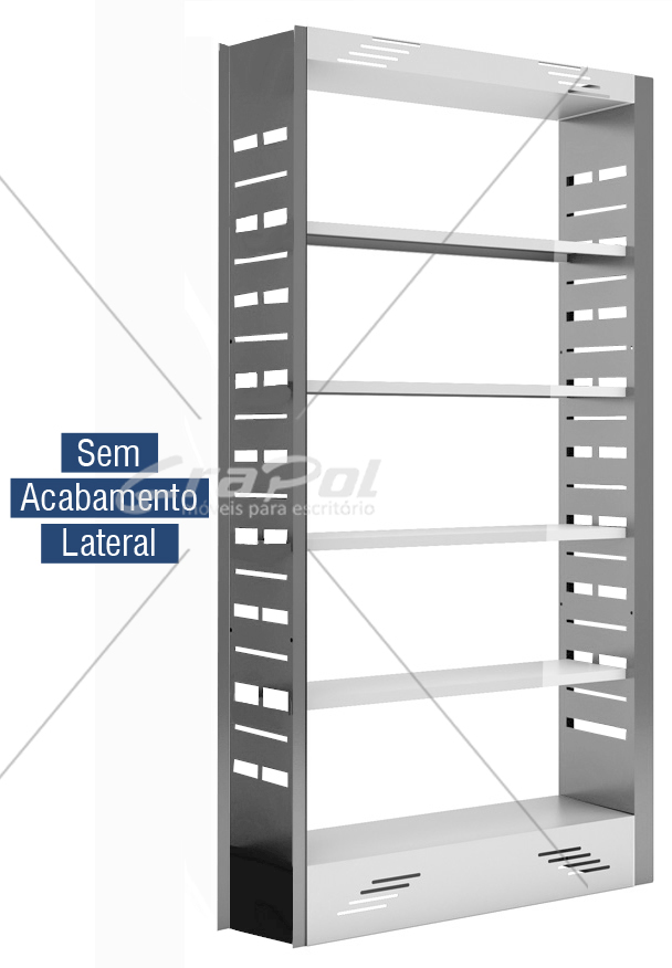 Estante Simples face para Biblioteca - W-teca - c/ 4 Prateleira + Base 2000X1000X315mm  -