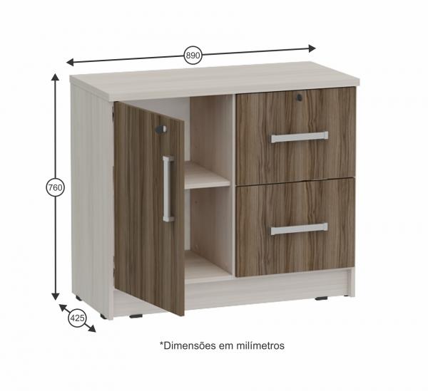 Artesanato Simples ~ Armário baixo para escritório com 1 porta + 2 gavetas para pasta suspensas Grapol Móveis