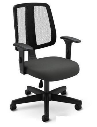Cadeira para escritório executiva giratória 43503 -  Sem regulagem  - Linha Flip Light - Braço SL New PP   - Cavaletti - Aranha Polaina - Estrutura preta