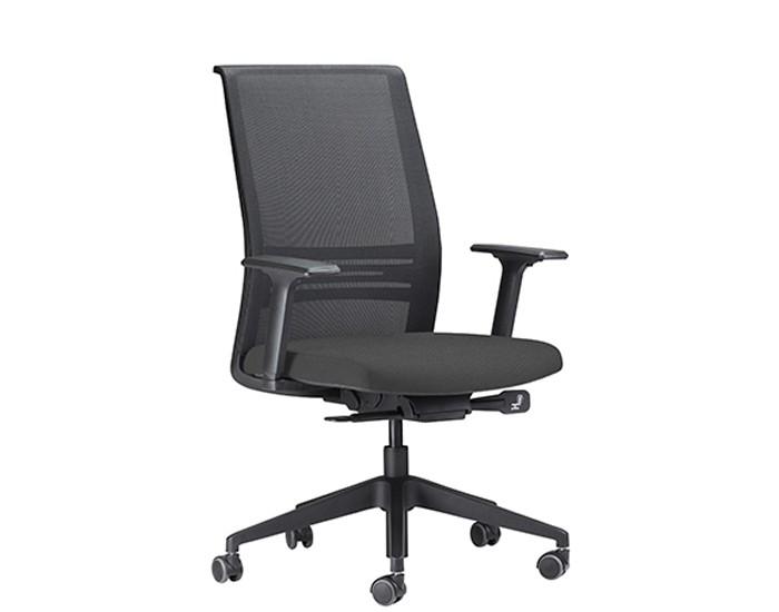 Cadeira para Escritório Presidente Giratória KAGII5 - Mecanismo Sincron - Base Nylon - Apoio Lombar - Com Braço - Rodízio PU - Linha Agile - Frisokar